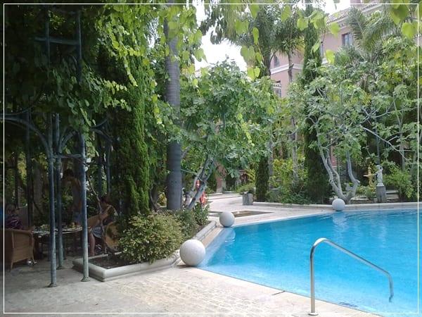 Jardín en la piscina