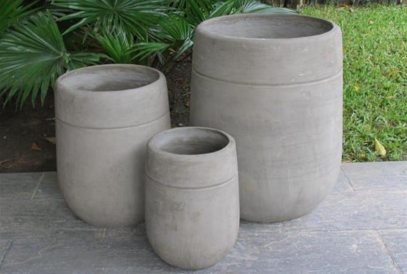 Macetas de cemento redondas