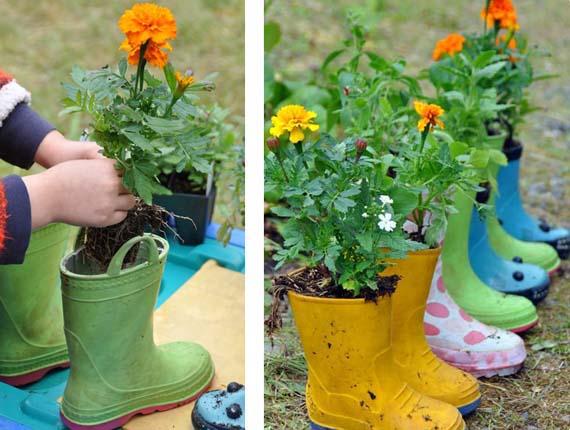 Plantar en botas de agua