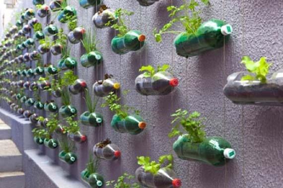 macetas en botellas de plastico