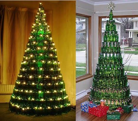 arbol de navidad con botelals de vidrio
