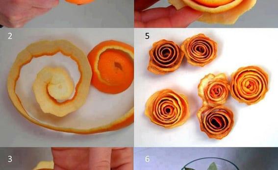 rosas hechas con piel de naranja