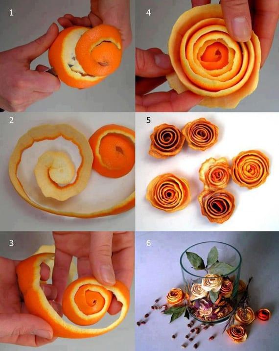 cómo hacer rosas con piel de naranja