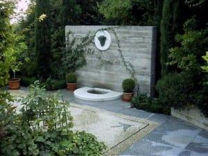 Fuente en el jardín
