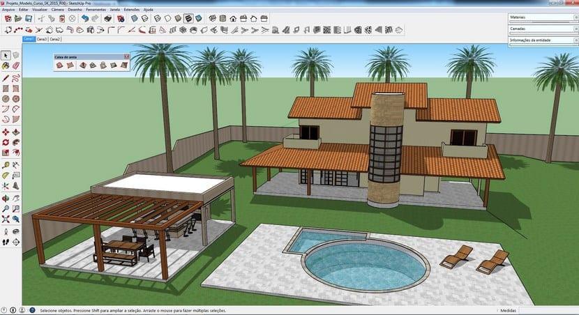 SketchUp, diseño jardín