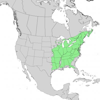 Rango de distribución del fresno americano