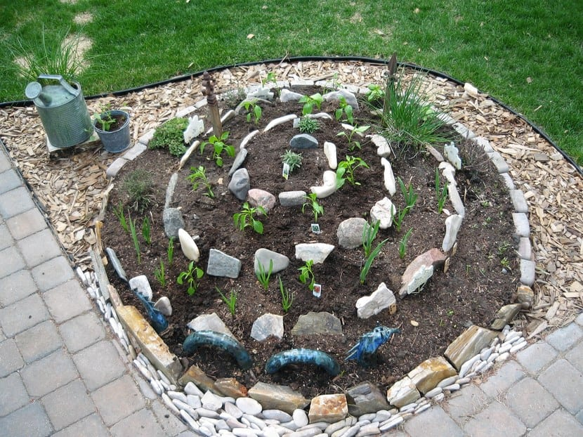 Plantas en huerto en espiral