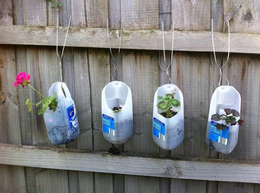 plantar plantas y flores en botellas de plastico