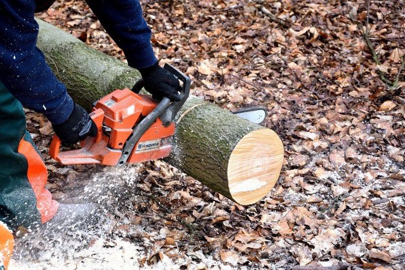 Motosierra cortando un tronco de árbol