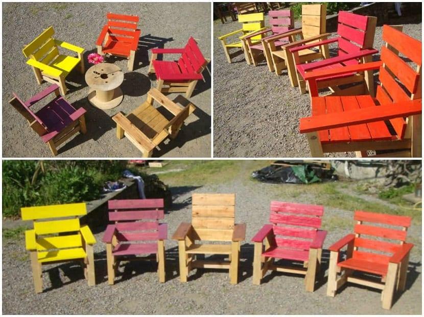 sillas de colores realizadas con palets