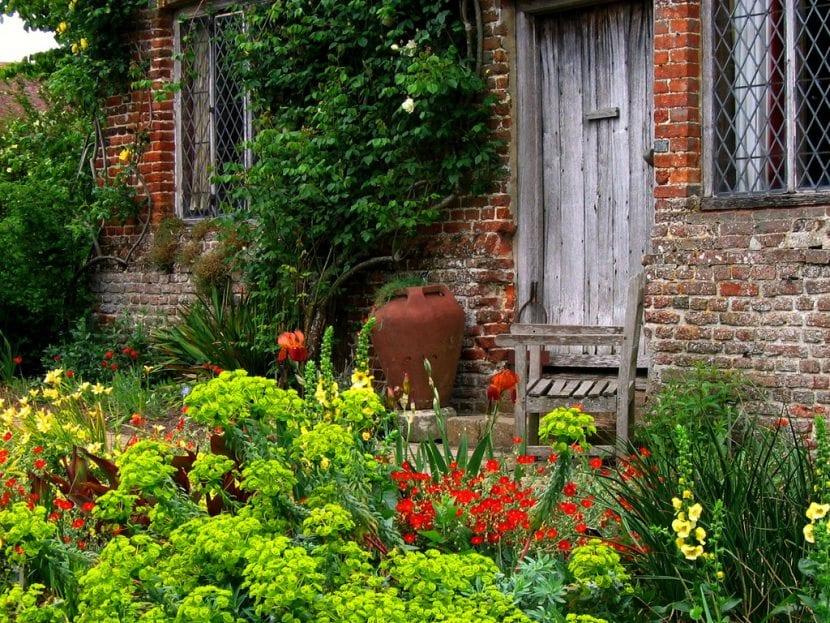 Vista de las plantas de un jardín cottage inglés