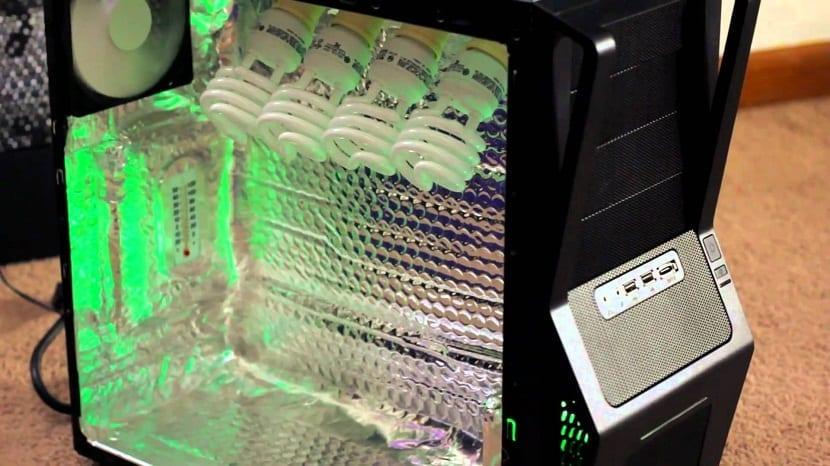 interior de ordenador para meter plantas y que están crezcan más rapidamente