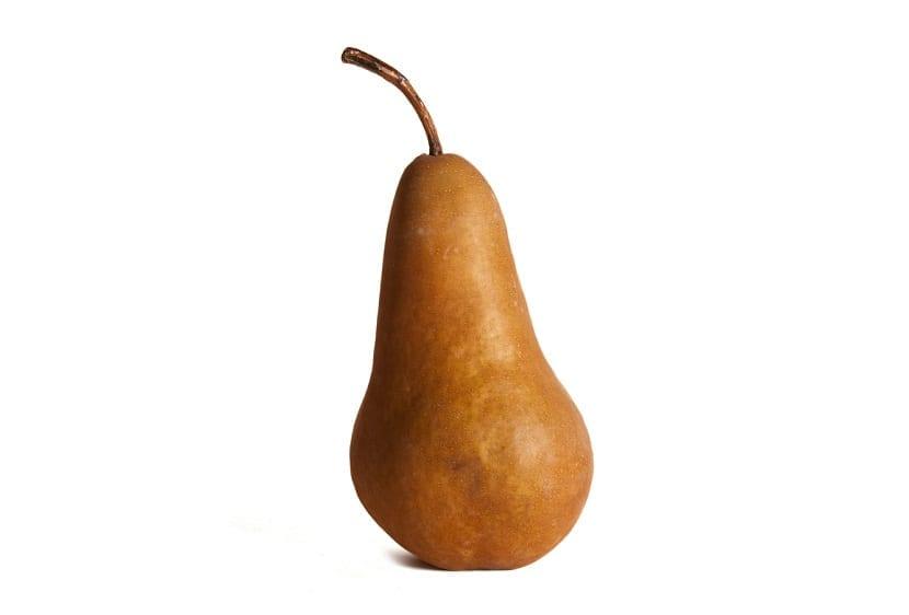 imagen de una pera Bosc de pie y con un color marron
