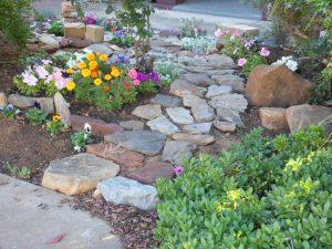 Crea un camino de piedras entre tus plantas