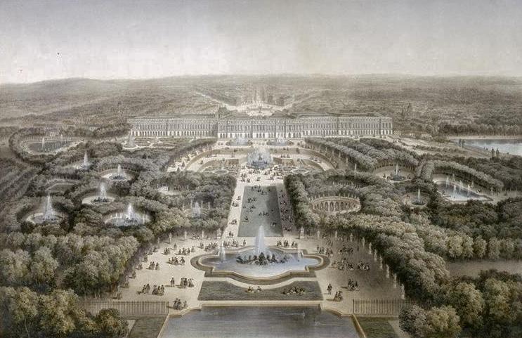 Grabado de los Jardines de Versalles