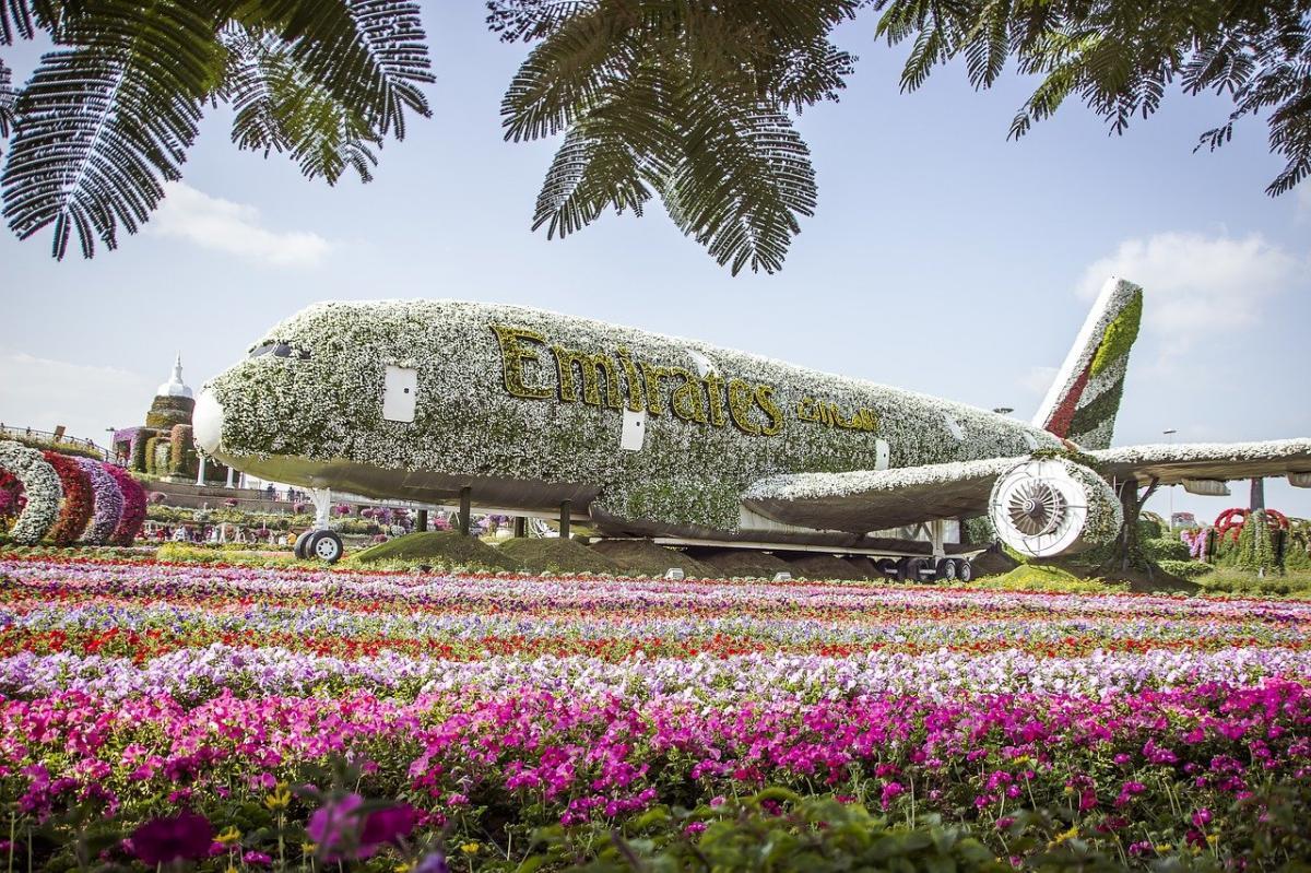 El avión de flores del Miracle Garden es a tamaño real