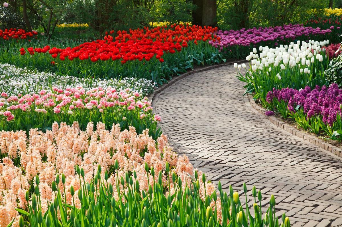 Un camino de piedras con flores a sus lados es perfecto