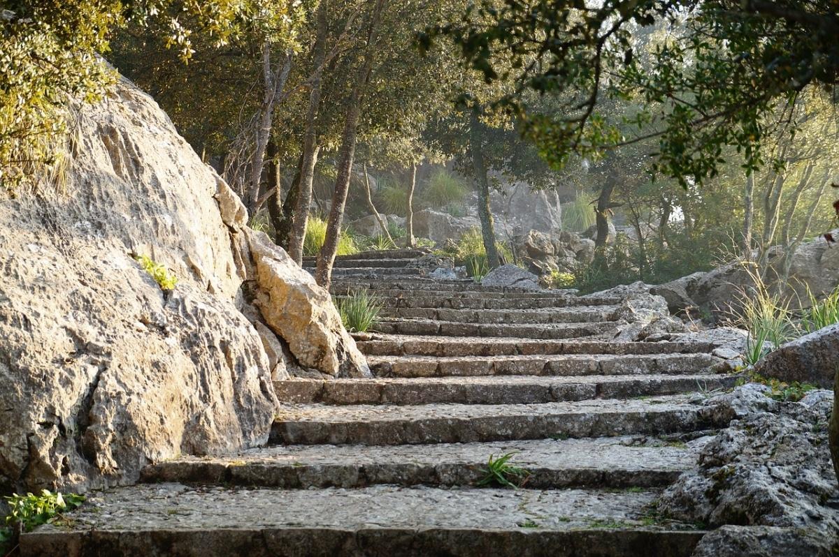 Construir una escalera de piedras hará más sencillo el disfrute de los jardines con pendientes