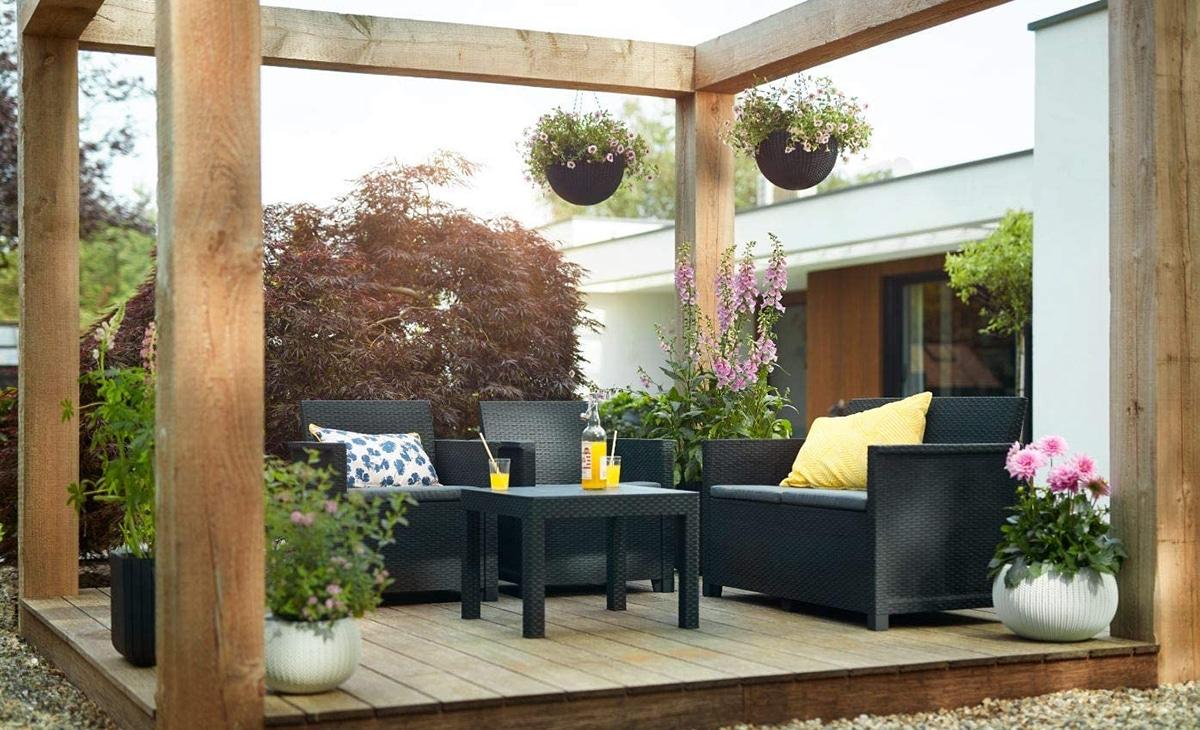 Los conjuntos de jardín deben ser resistentes a la intemperie